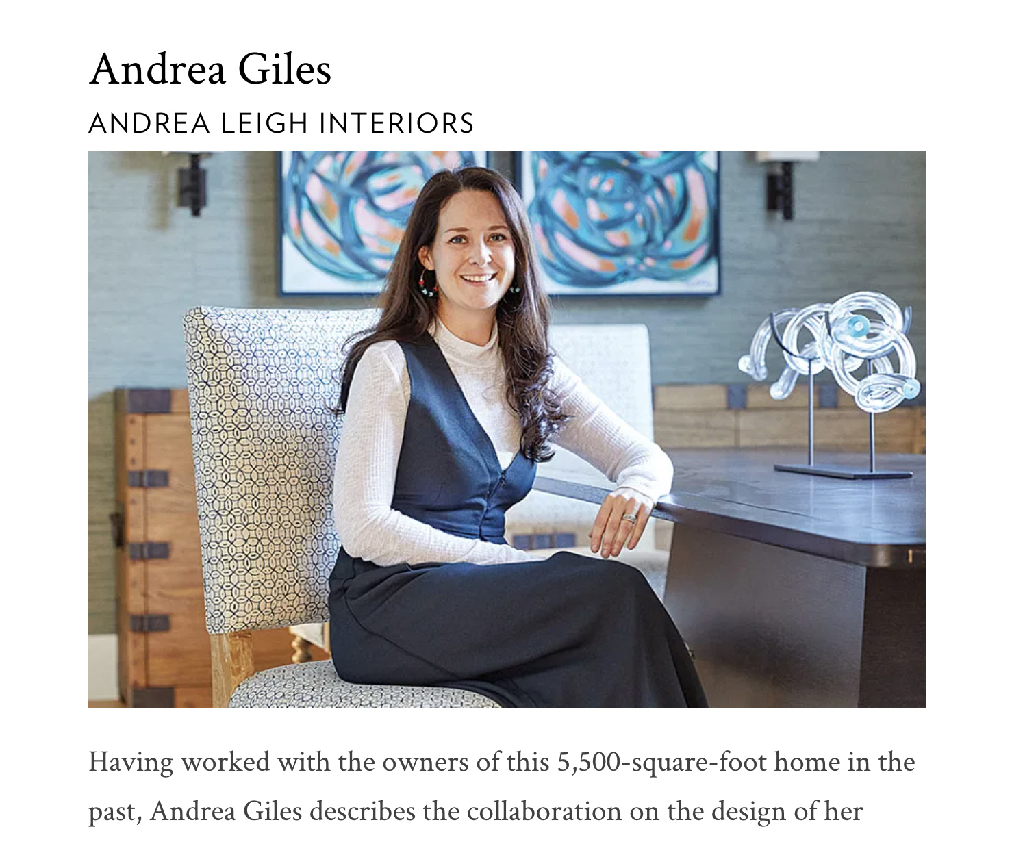 Andrea Leigh Interiors in Tribeza 2018